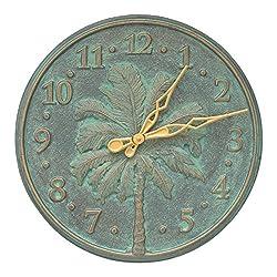 Whitehall Single Palm Wall Clock 16 Wall Clock Bronze Verdigris (Clock, Bronze Verdigris)