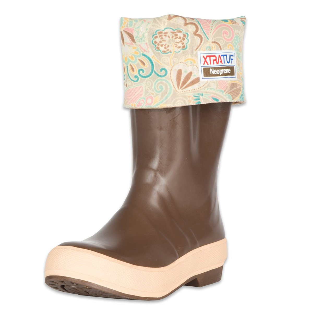XTRATUF Legacy Series 15'' Floral Print-Lined Neoprene Women's Fishing Boots, Copper & Tan (22812G)