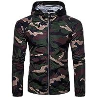 Men Tops Big and Tall Lightweight Camouflage Print Suntan-Proof Zipper Pullover Hoodie Sweatshirt Jacket