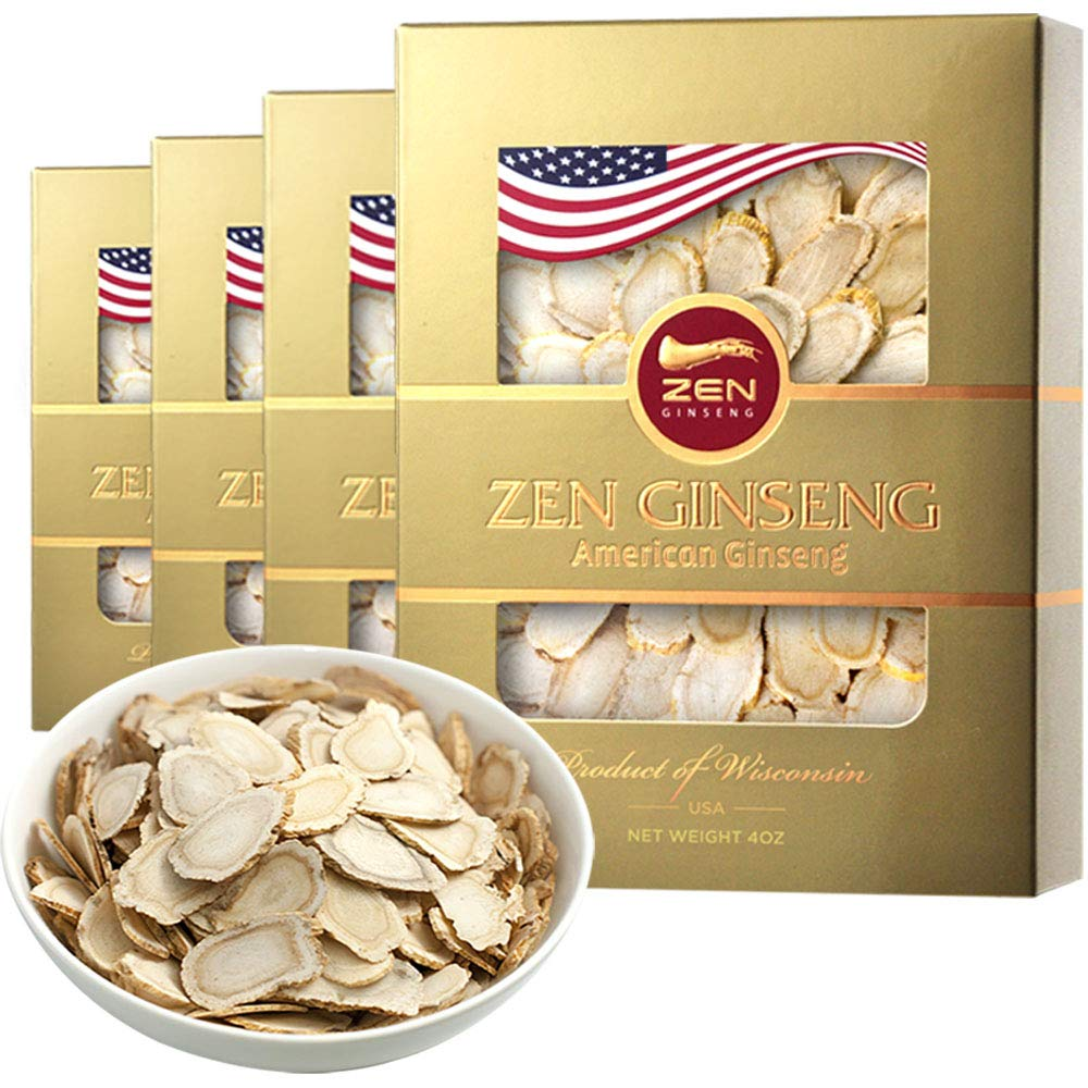 Independence Day Sale/American Wisconsin Ginseng Slice - Big Slice 4oz/Box (4boxes) Performance & Mental Health for Men & Women