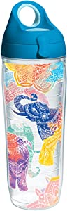 Tervis 1232299 Mehndi Elephants Tumbler with Wrap and Turquoise Lid 24oz Water Bottle, Clear