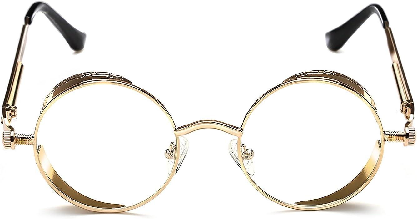 e2e911bfb20 Rocknight Gothic Steampunk Sunglasses For Men Women Hippie Sunglasses Metal  Frame Rose Golden