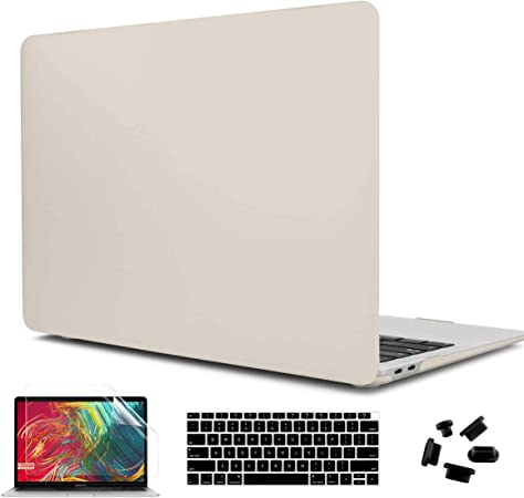 CiSoo Heavy Duty Hard Case with Dual Layer Rubberized Bumper,Shockproof Protective Hard Shell Cover for 2018 MacBook Air 13 Inch Model A1932 Keyboard Cover,Trackpad Protector 3in1 Set