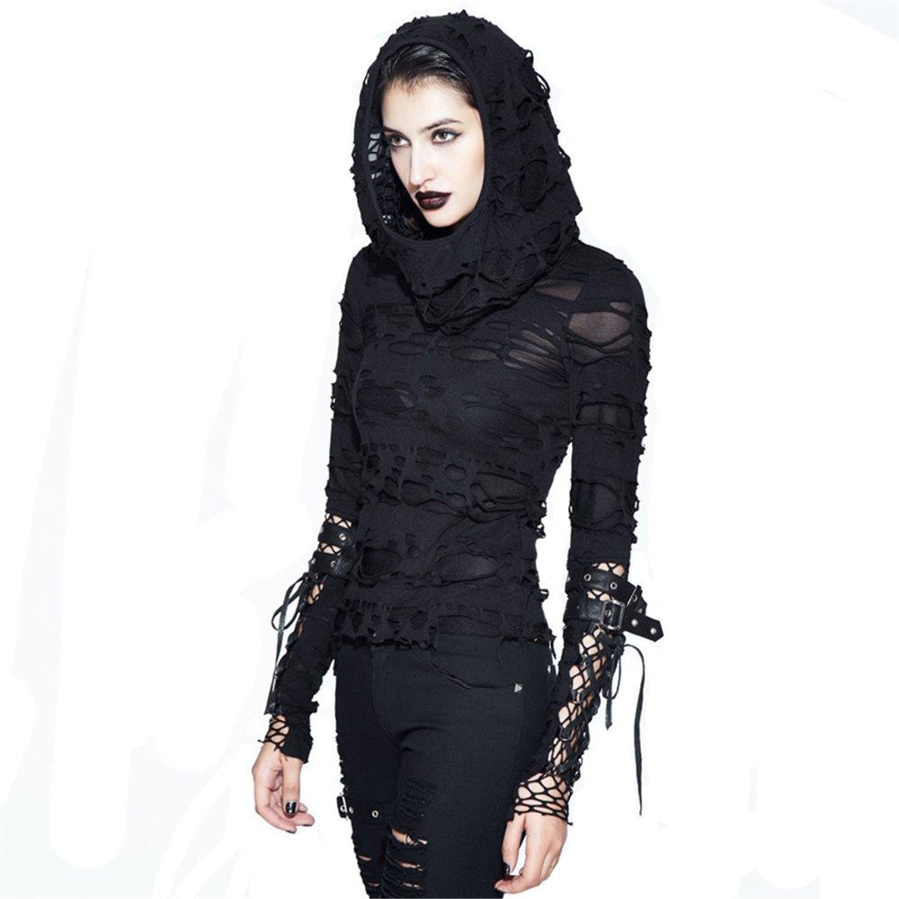 PUNK Gothic Hooded Ripped Holes T-Shirts Women Black Long ...