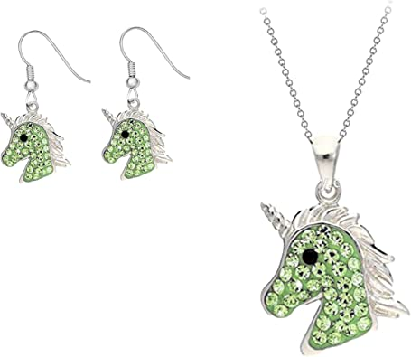 Pink Unicorn Set Jewellery Gift  Necklace Earrings Matching Alternative Quirky Unusual Cute Unique Burlesque Fantasy Cosplay