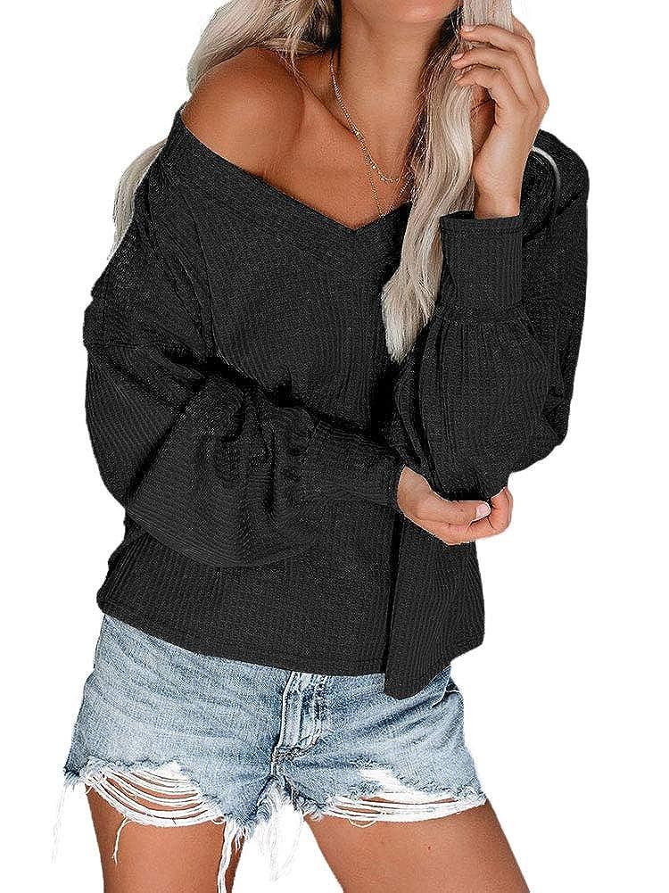 SANXIA Womens Sweaters Waffle Knit Long Sleeve V-Neck Tops