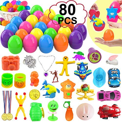 80 piece Easter Basket Suffers Egg, 40 pcs Mini Toys Prefilled in 40 Jumbo Plastic Eggs for Easter Party Decoration Included Sticky Toy Car Bunny Dinosaur Easter Gift for Girl Boy (40 Toys + 40 Eggs)