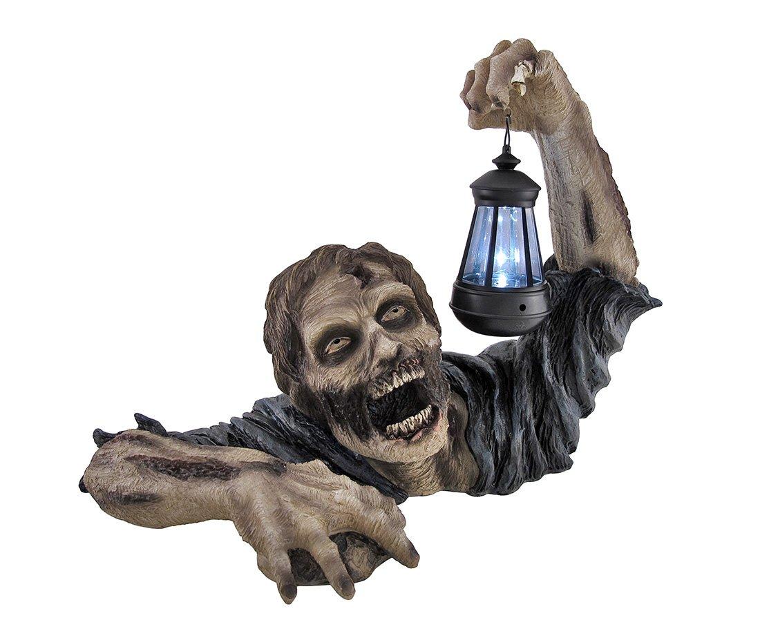 Charming `Dead Rising` Zombie Holding Lantern Solar Powered Garden Light Lamp    Outdoor Figurine Lights   Amazon.com
