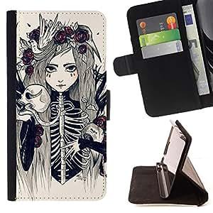 BullDog Case - FOR/Sony Xperia m55w Z3 Compact Mini / - / SKULL BRIDE SKELETON DEATH FLORAL GIRL /- Monedero de cuero de la PU Llevar cubierta de la caja con el ID Credit Card Slots Flip funda de cuer