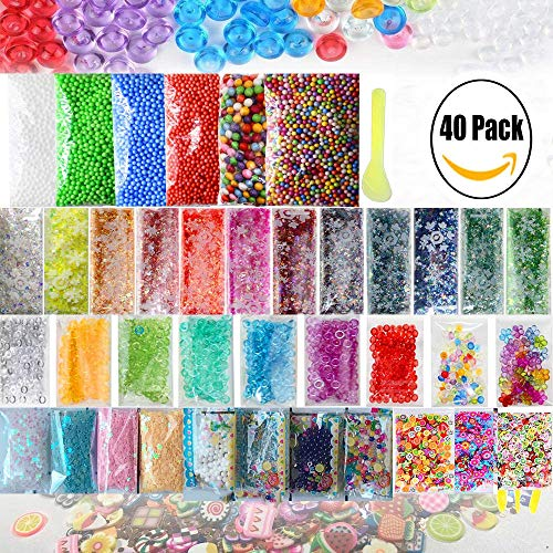 - Slime Supplies Kit, CETIM 40 Pack Slime Beads Charms, Include Fishbowl Beads, Floam Beads, Glitter, Confetti, Fruit Slices, Rainbow Pearl, Colorful Sugar Paper Accessories, Slime Tools for DIY Slime