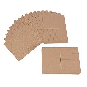 Ewtshop 100 Blanko Postkarten Aus Kraftpapier Format A6 Perfekt Zum Kreativen Basteln Bemalen Als Grusskarte Geburtstagskarte Einladungskarte