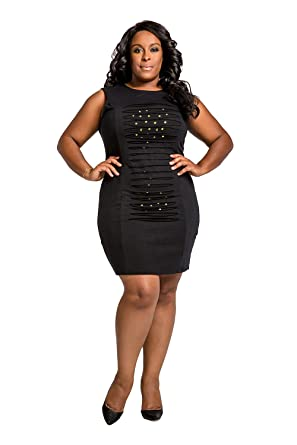 cc7ab7c7a3b Poetic Justice Curvy Women Plus Size Black Ponte Front Studs Hourglass  Dress