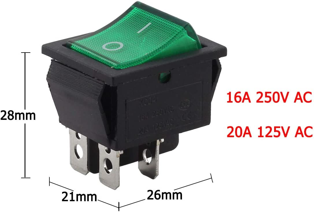 Longdex 2pcs AC 250V 16A ON//OFF Boat Rocker Switch Small Appliances Power Switch 2 Position I//O 4Pin DPST Green Button Switch with Light