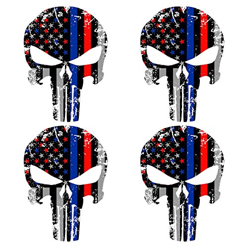 WZT-4-Pcs-Red-and-Blue-4x6-Inch-Subdued-Us-Flag-Punisher-Skull-Reflective-Decal-with-Thin-Blue-Line-police-and-fire-Support