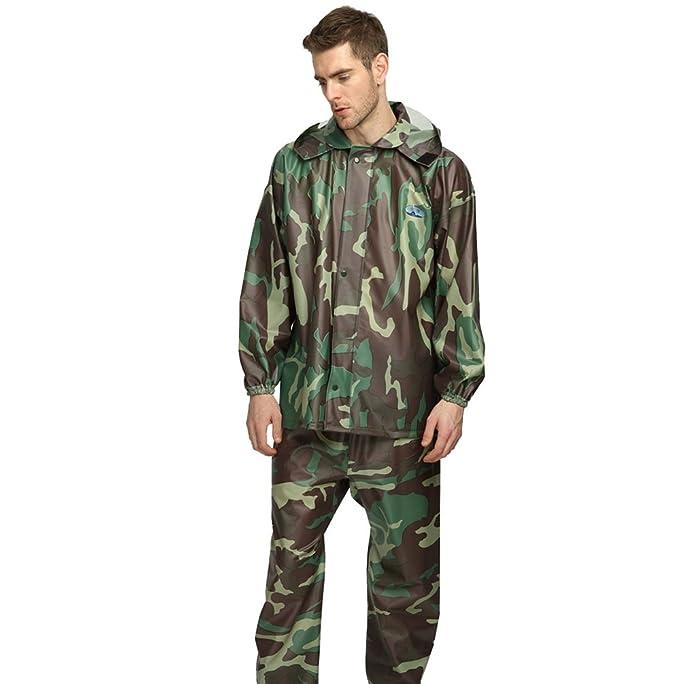 YAANCUN Conjunto de Lluvia Chaqueta y Pantalones para la Lluvia de Camuflaje Impermeable para Hombres y Mujeres: Amazon.es: Ropa y accesorios
