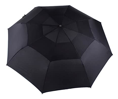 Paraguas plegable paraguas automático rompevientos/impermeables dos capas, 8 ballenas, mango de madera
