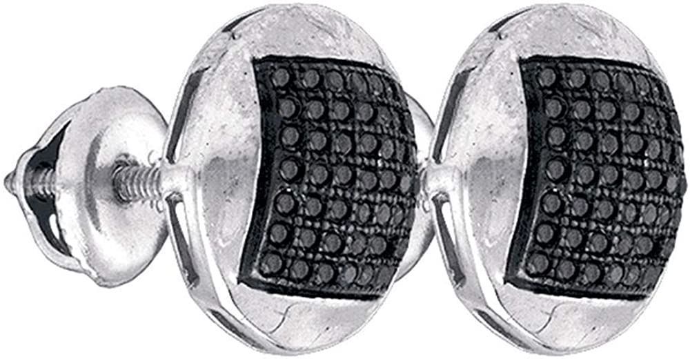 Sterling Silver Mens Round Black Color Enhanced Diamond Cluster Earrings 1//3 Cttw