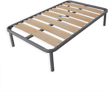 Dormiland - Somier para cama de una plaza y media, 120 x 190 cm, con 14 láminas de haya con barra central y patas, estructura de carga completamente ...