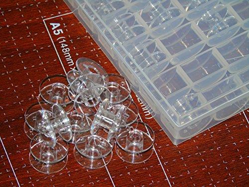 Ceeyali 25 Pcs Transparent Plastic Sewing device Bobbins using Bobbin circumstance for Brother Singer Babylock Janome Kenmore Bobbins