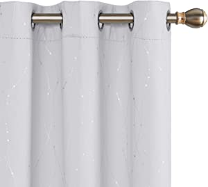 Deconovo Light Blocking Thermal Insulated Blackout Curtains Foil Printed Wave Line with Dots Grommet Window Drapes for Bedroom 42 x 72 Inch Greyish White 2 Panels