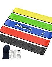 PROIRON Motståndsband, resistenta band, träningsband motstånd för kvinnor och män, stretchband för träning, gymband, set med 5 med guide och bärväska