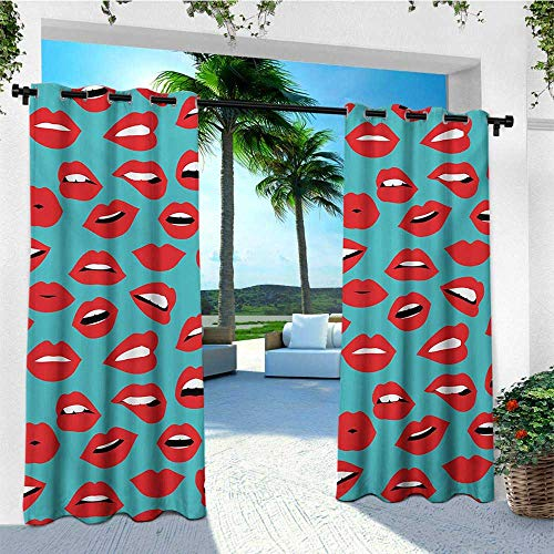 (leinuoyi Kiss, Outdoor Curtain Kit, Retro Woman Mouth Red Lipstick Girl Expressing Different Emotions Female Vintage, Outdoor Patio Curtains W72 x L96 Inch Teal Red White)