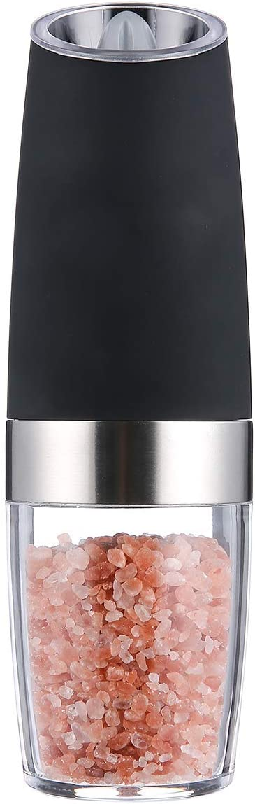 Vech Gravity Pepper and Salt Mill- Battery Powered with Blue LED Light, Electric Salt and Pepper Grinder with Adjustable Coarseness Ceramic Rotor, Automatic Operation, Brushed Stainless Steel.