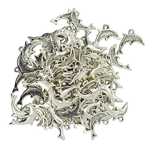(Homyl 50 Pieces Alloy Silver Dolphin Shape Pendants Charms Findings for DIY Jewelry Making)