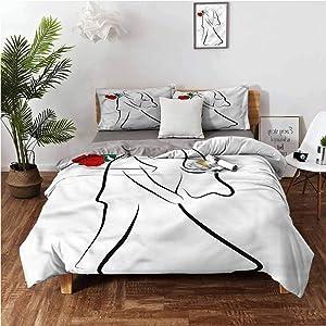 "Bedding Duvet Cover, Wedding Silhouette Couple 3 Piece (1 Duvet Cover + 2 Pillow Shams) Light Weight & Easy Care - Full 80""x90"""