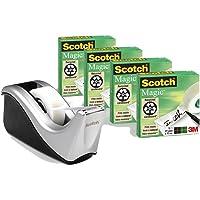 Scotch C60-ST4 tafelafroller, incl. 4 rollen Scotch MagicTape 810, zilver/zwart