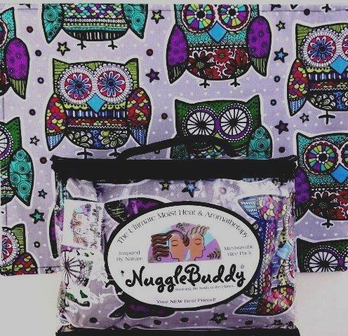 'NUGGLEBUDDY Microwavable Moist Heat & Aromatherapy Organic Rice Pack. BESTSELLER! Owl Mandala Fabric with SPEARMINT EUCALYPTUS Aromatherapy.