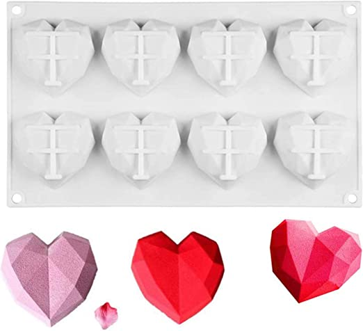 Brownie Cheesecake Dessert Fondant Mousse Valentines Day 3D Diamond Heart Chocolate Mold Geometric Love Shape Silicone Cake Mold/ for/ DIY/ Cupcake White,1 Piece Ice/ Cream