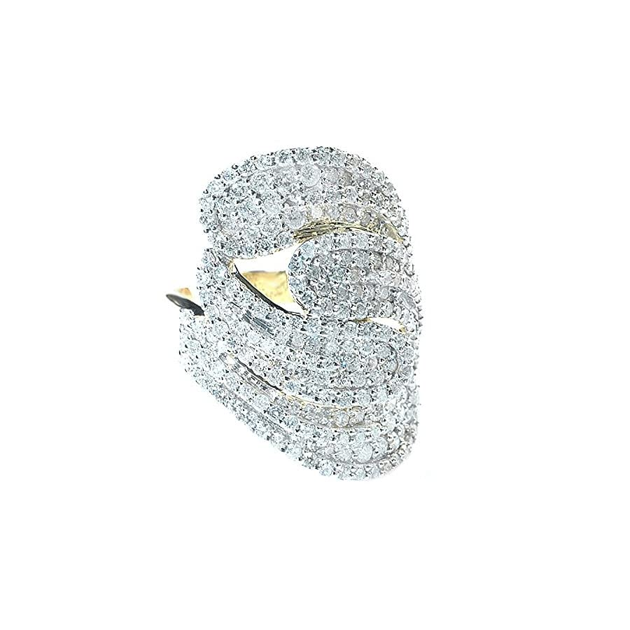 3.00 Carat (ctw) 14K Yellow Gold Round Diamond Ladies Cocktail Ring (Size 7)