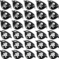 Tatuo 30 Pieces 2 Styles Pirate Eye Patches Pirate Captain Black Eye Patch Plastic for Pirate Themed Party Favors and Decorations