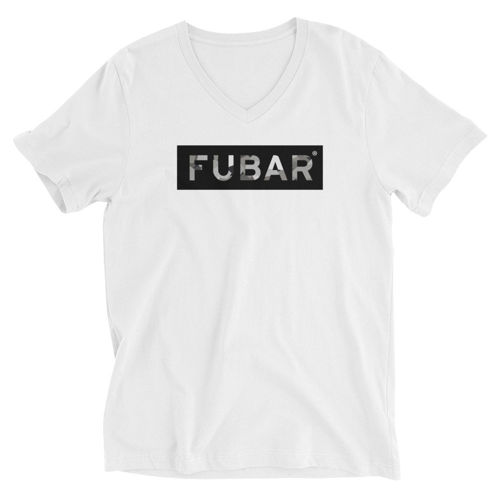 . White Fubar Respectful Disability CAMO Limited Edition Short Sleeve V-Neck
