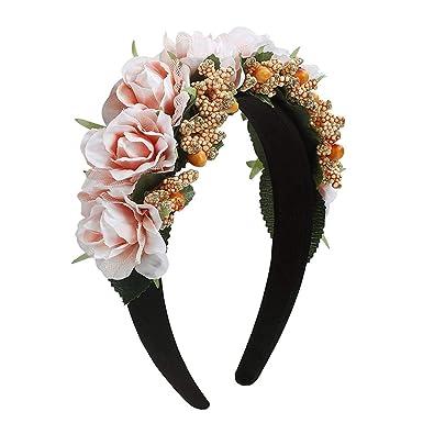 Amazon.com: 2019 Corona de novia para boda, flor, corona ...