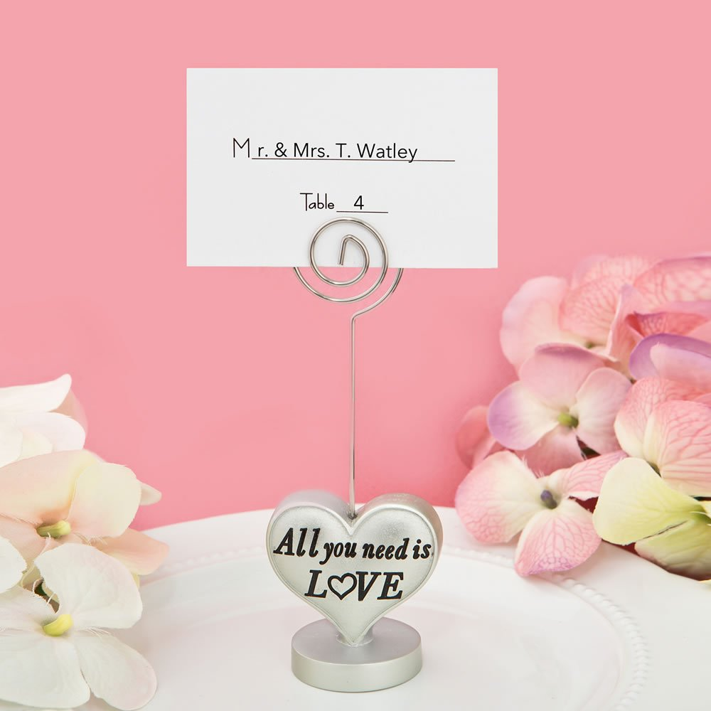 96 'All You Need Is Love' Heart Design Placecard Holders / Photo Holders