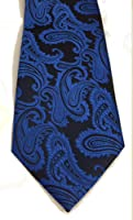Mens Blue & Black Jacquard Woven Paisley Tie Necktie and Handkerchief Set