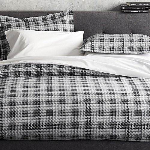 Crate & Barrel Linde Gray Plaid Houndstooth Cotton Duvet Cover King or Full Queen (King) (Crate Barrel Duvet)