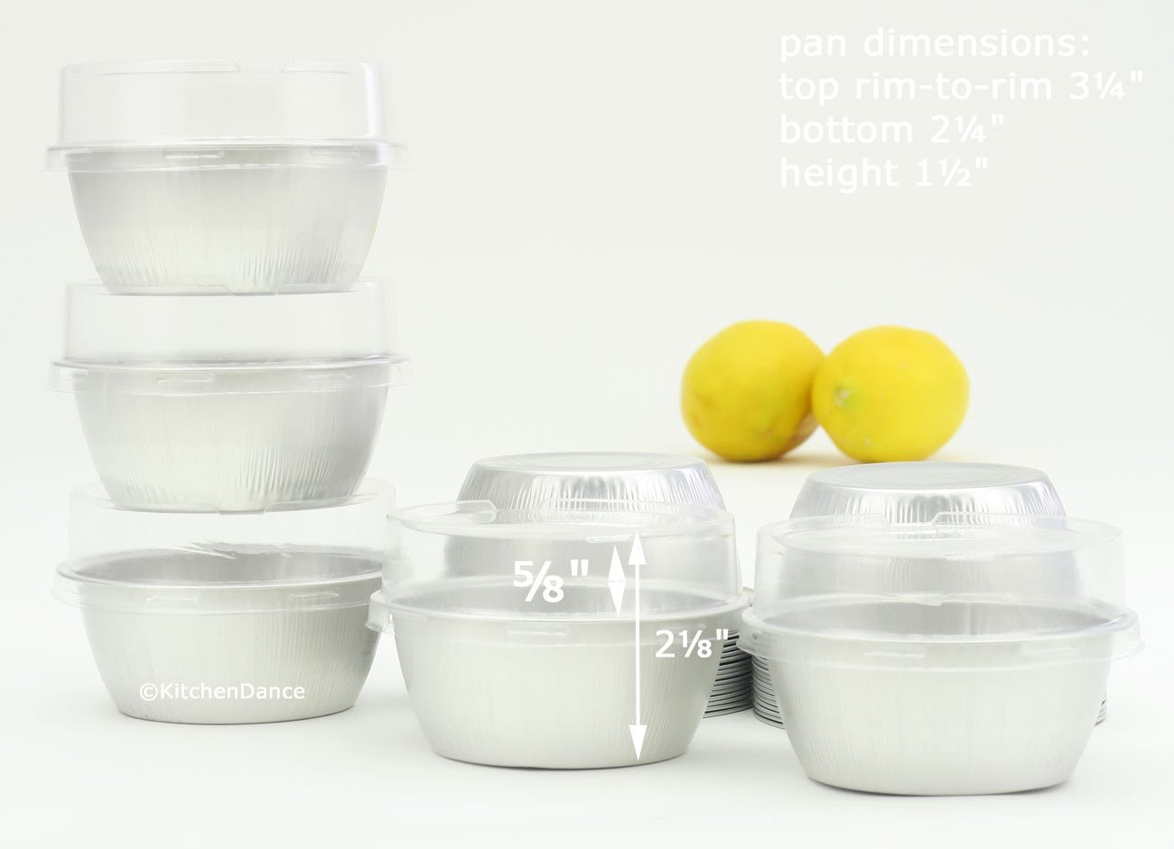 KitchenDance Disposable Aluminum 4 oz. Ramekins- Color & Lid Options- Pack of 100 (With Stackable Lid, Silver)