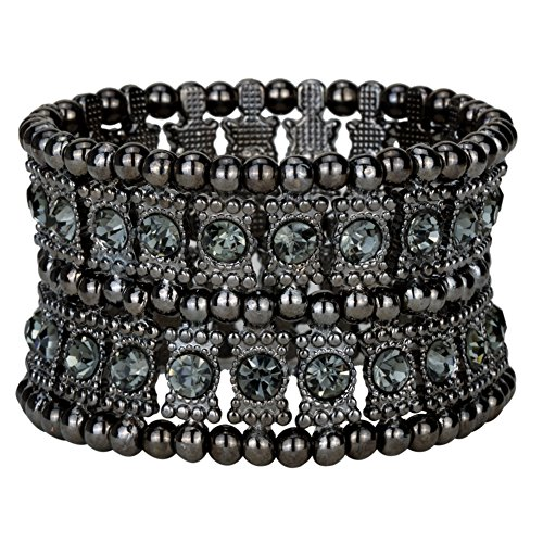 Angel Crystal Silver Bracelets - YACQ Jewelry Multilayer Crystal Stretch Cuff Bracelet for Women Gold Silver Black Color 2 Row
