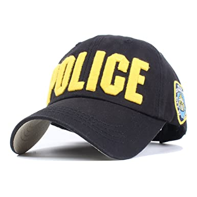 Vankerful NYPD Department Hat Police Embroidered Hats Adjustable Baseball  Caps Unisex Black Yellow 60b14f699774