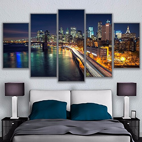 [Medium] Premium Quality Canvas Printed Wall Art Poster 5 Pieces / 5 Pannel Wall Decor Los Angeles Night Painting, Home Decor Pictures - With Wooden Frame