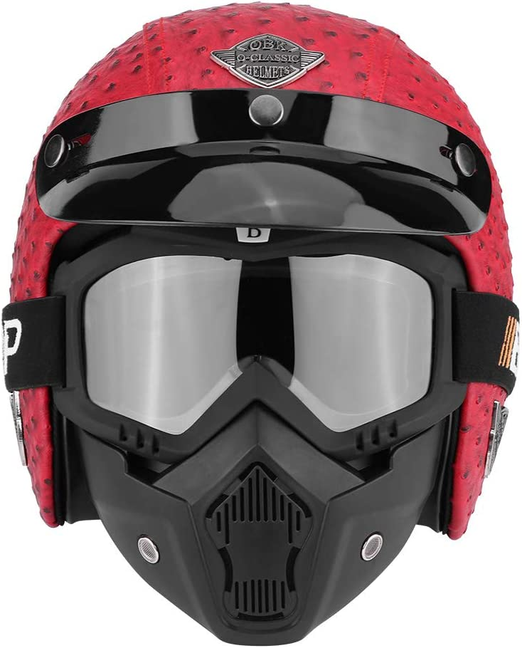 Universal Motorcycle Helmet with Protective Goggles Retro Style Half Open Leather Motorcycle Helmet for Motorcycle Scooter Various Sizes and Colours Available
