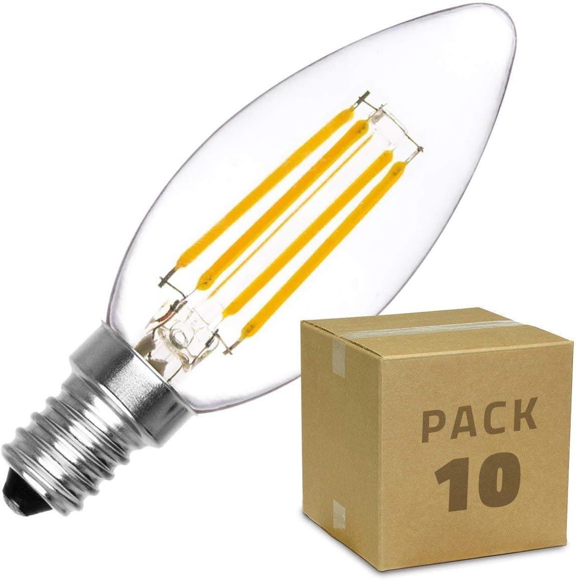 LEDKIA LIGHTING Pack Bombilla LED E14 Casquillo Fino Filamento Classic C35 2W (10 un) Blanco Cálido 2000K - 2500K: Amazon.es: Iluminación