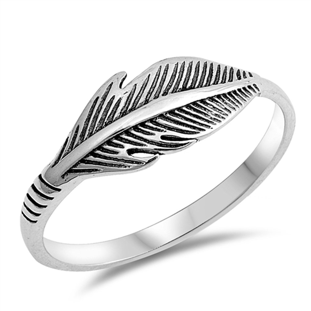 Feather Cute Simple Bird Leaf Thumb Ring New 925 Sterling Silver Band Size 10
