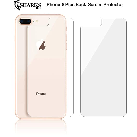 competitive price f9375 8ff1f (2 Pack) SHARKSBox iPhone 8 Plus Back Screen Protector [Lifetime  Replacements][Case Friendly][Anti-Bubble] Ultra-Thin Back Temper Glass  Screen ...