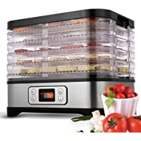 Food Dehydrator Machine with 5 Trays, BPA Free, Digital Adjustable Timer and Temperature Control, Dryer for Beef, Jerky…