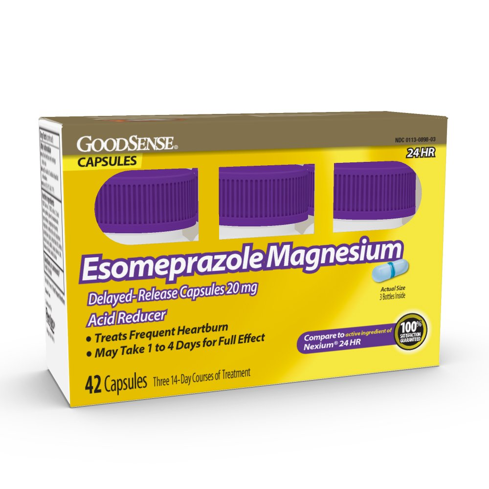 Good Sense Esomeprazole Magnesium Delayed Release Capsules 20 Mg, Acid Reducer, Treats Heartburn, 42Count by Good Sense