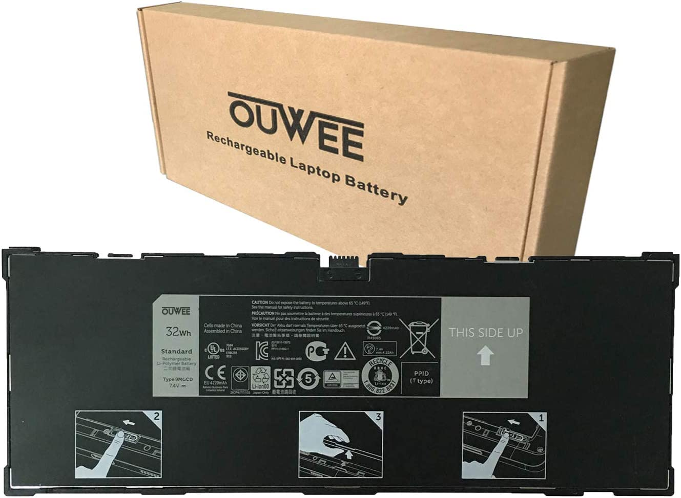 OUWEE 9MGCD Laptop Battery Compatible with Dell Venue 11 Pro 5130 Tablet Series Notebook XMFY3 312-1453 VYP88 0XMFY3 T8NH4 0T8NH4 7.4V 32Wh 4220mAh 2-Cell